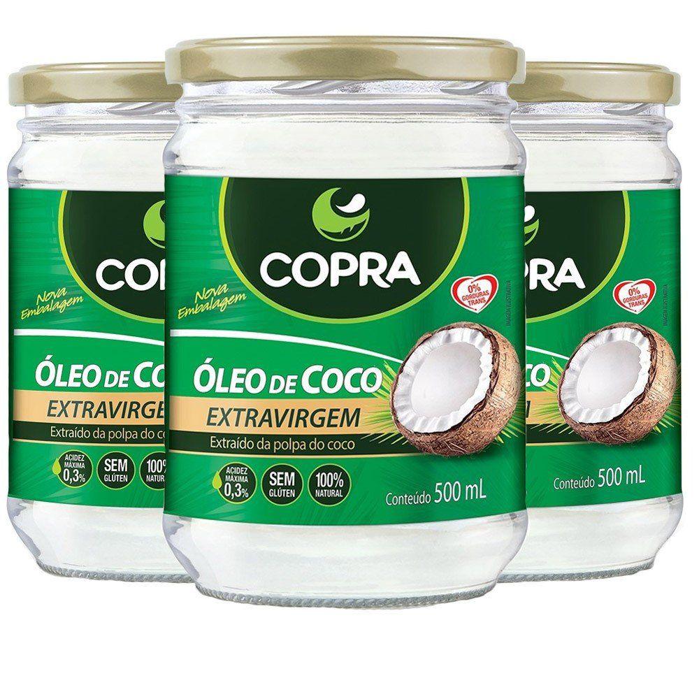 Combo 3x óleo de coco Extra Virgem 500g COPRA