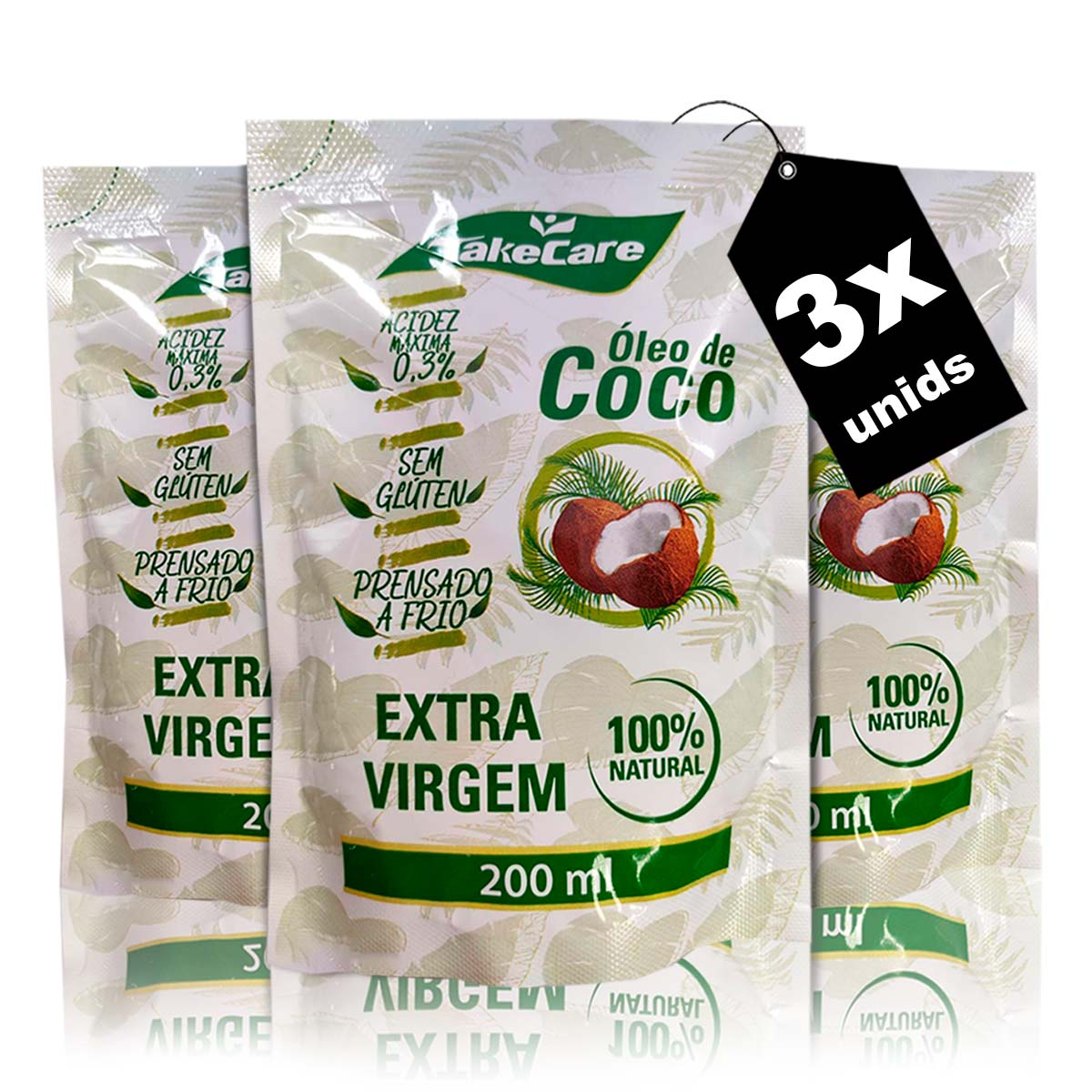 Combo 3x Óleo de Coco Extra Virgem Refil 200ml - Take Care