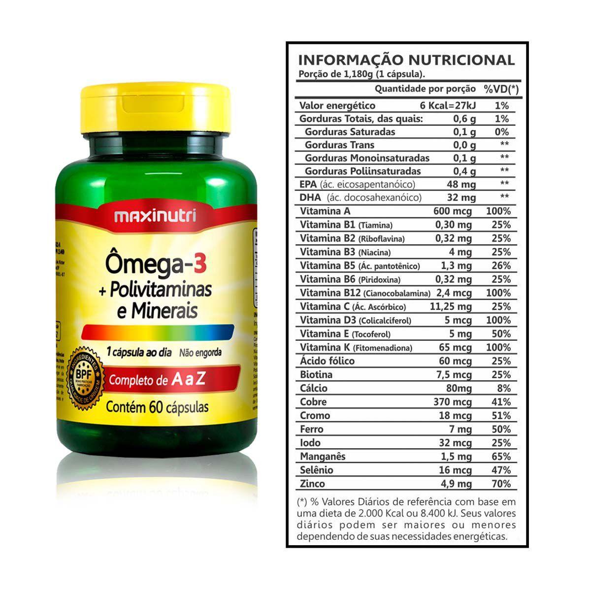Combo 3x Ômega 3 1g + Polivitaminas e Minerais 60 Caps + Porta Cápsulas - Maxinutri