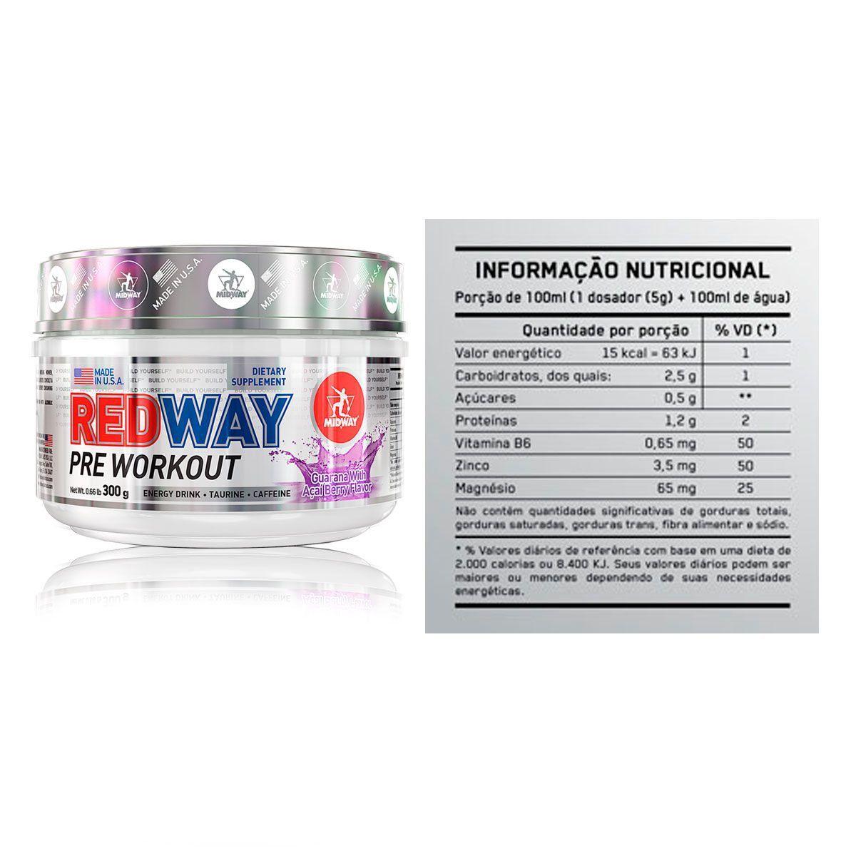 Combo 3x Pré-Treino Redway 300g + Brindes - Midway