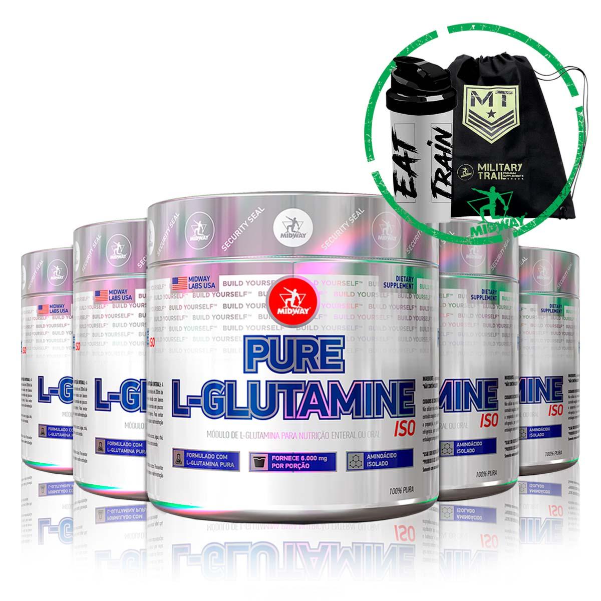 Combo 5x L-Glutamina Powder 100g + Brindes - Midway