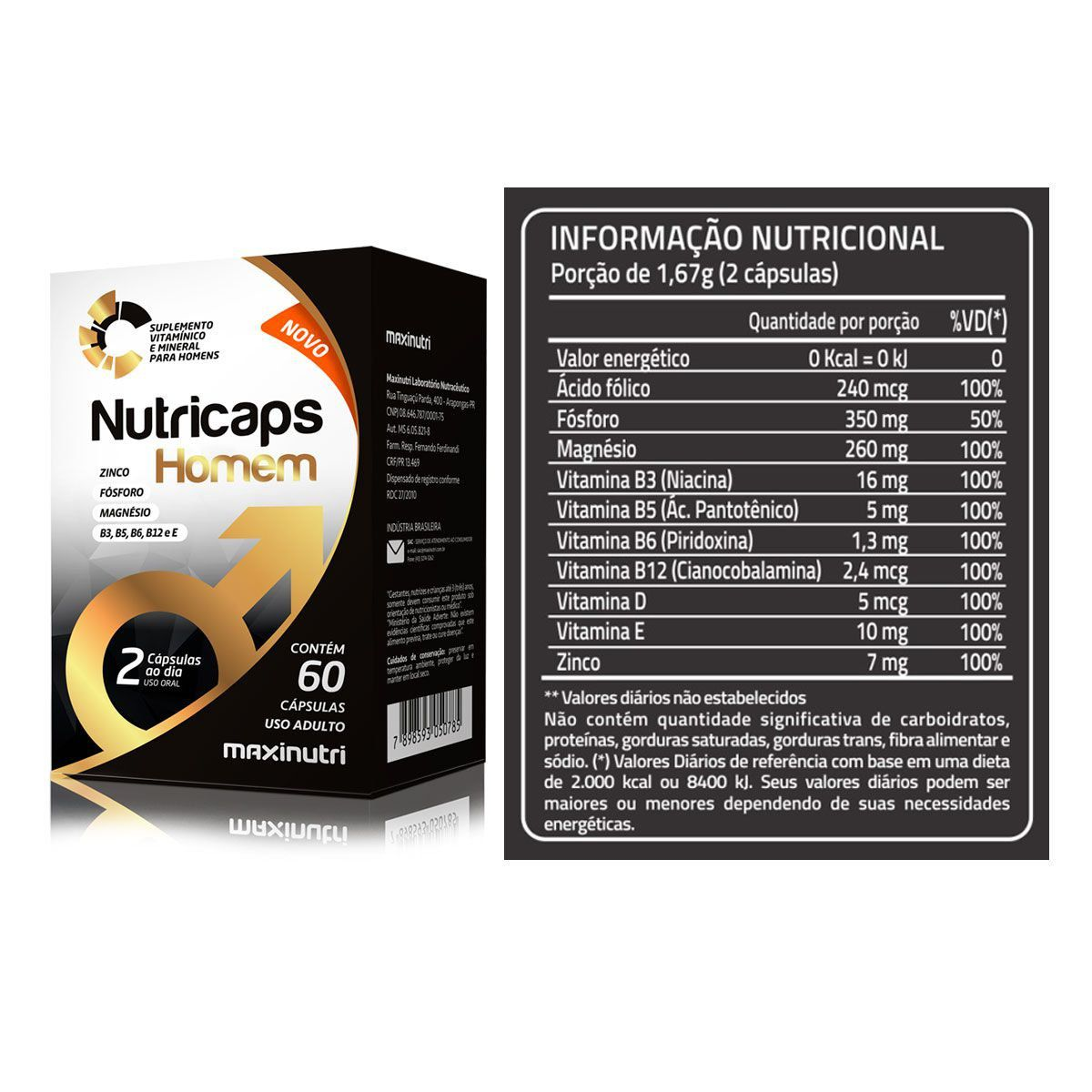Combo 5x Nutricaps Testo 60 Caps + Porta Caps - Maxinutri