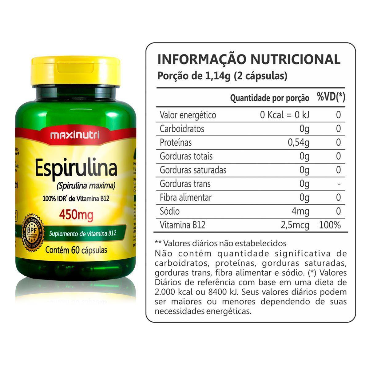 Espirulina 450mg 60 Caps - Maxinutri