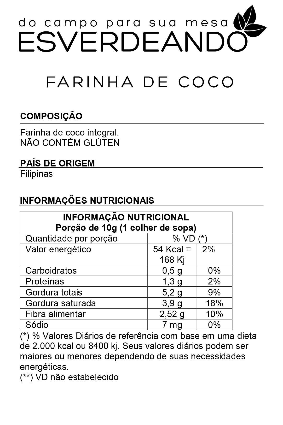 Farinha de Coco Branca Importada 1kg - Esverdeando
