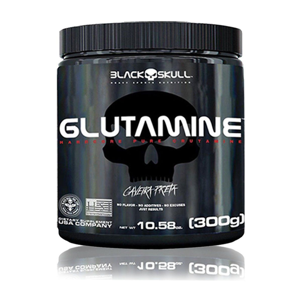 Glutamina Caveira Preta 300g - Black Skull