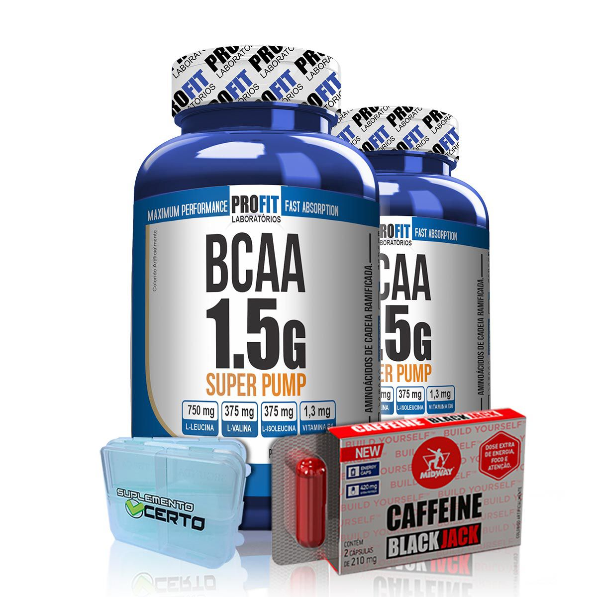 Kit 2x BCAA 1,5g Super Pump 60 Caps + Brindes - Profit