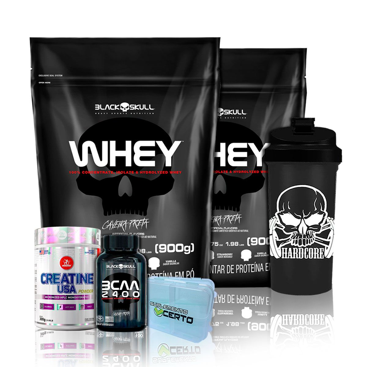 Kit 2x Whey 900g + Bcaa 30 Tabs + Creatina 300g + Brindes - Black Skull/Midway