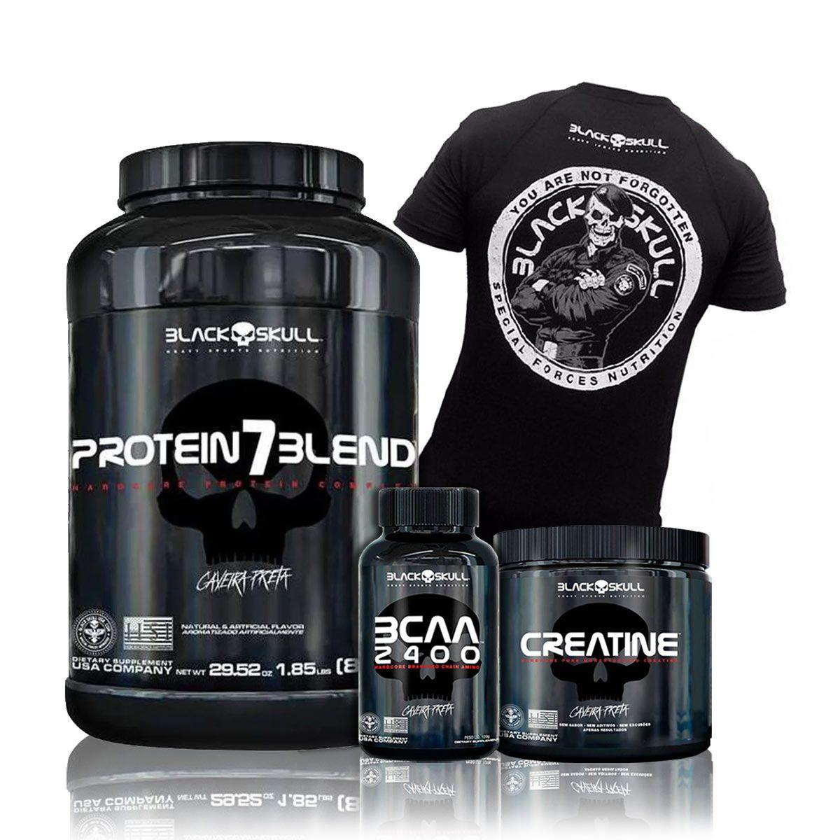 Kit Ganho de Massa Muscular - Protein 7 Blend + BCAA + Creatina + Camiseta - Black Skull