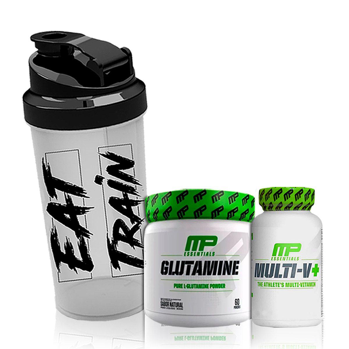 Kit Glutamine 300g + Mult-V Multivitaminico 60 Cápsulas + Coqueteleira - Muscle Pharm