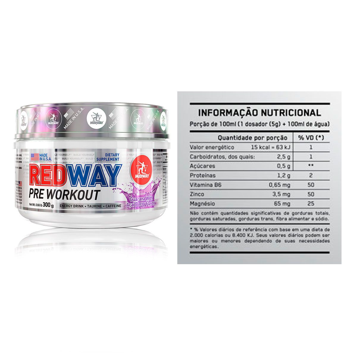 Kit Hipercalórico 7500 + Pré Treino Redway + Brindes - Midway