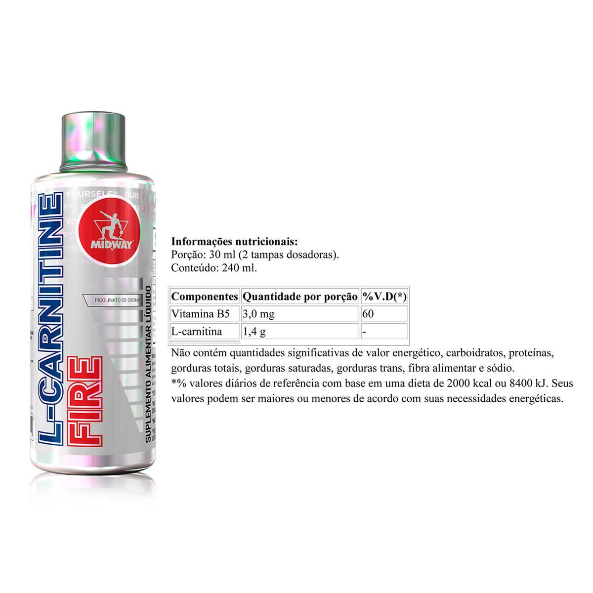 Kit L-Carnitina Fire 480ml + Chromaway Picolinate + Porta Caps - Midway