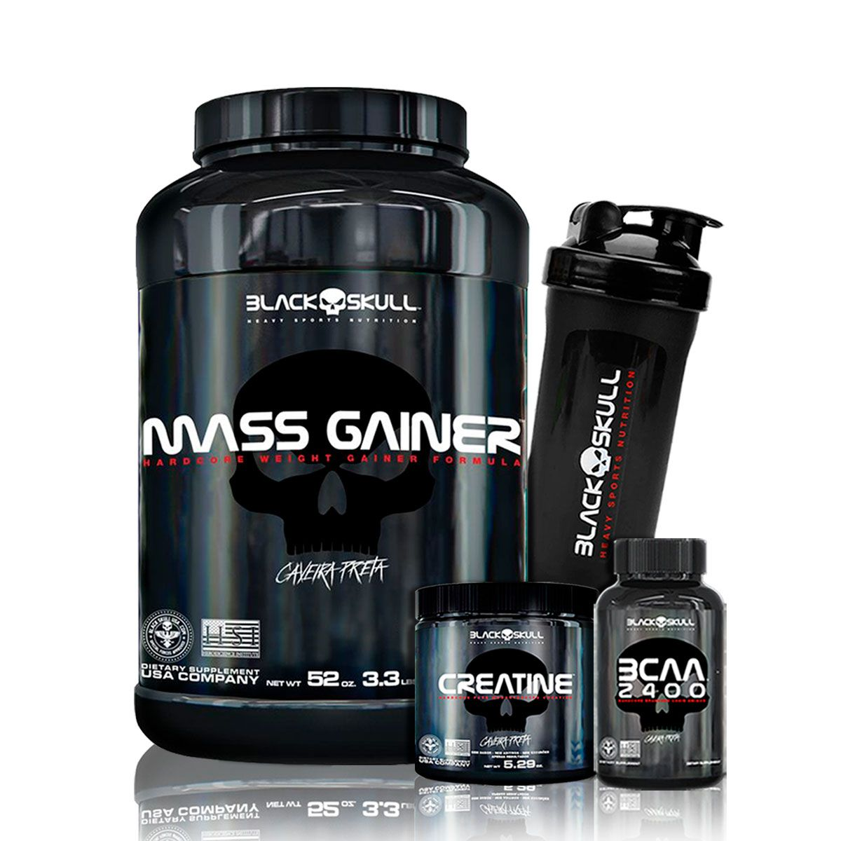 Kit Mass Gainer 1,5kg + BCAA 2400 30 Caps + Creatina 150g + Coq - Black Skull