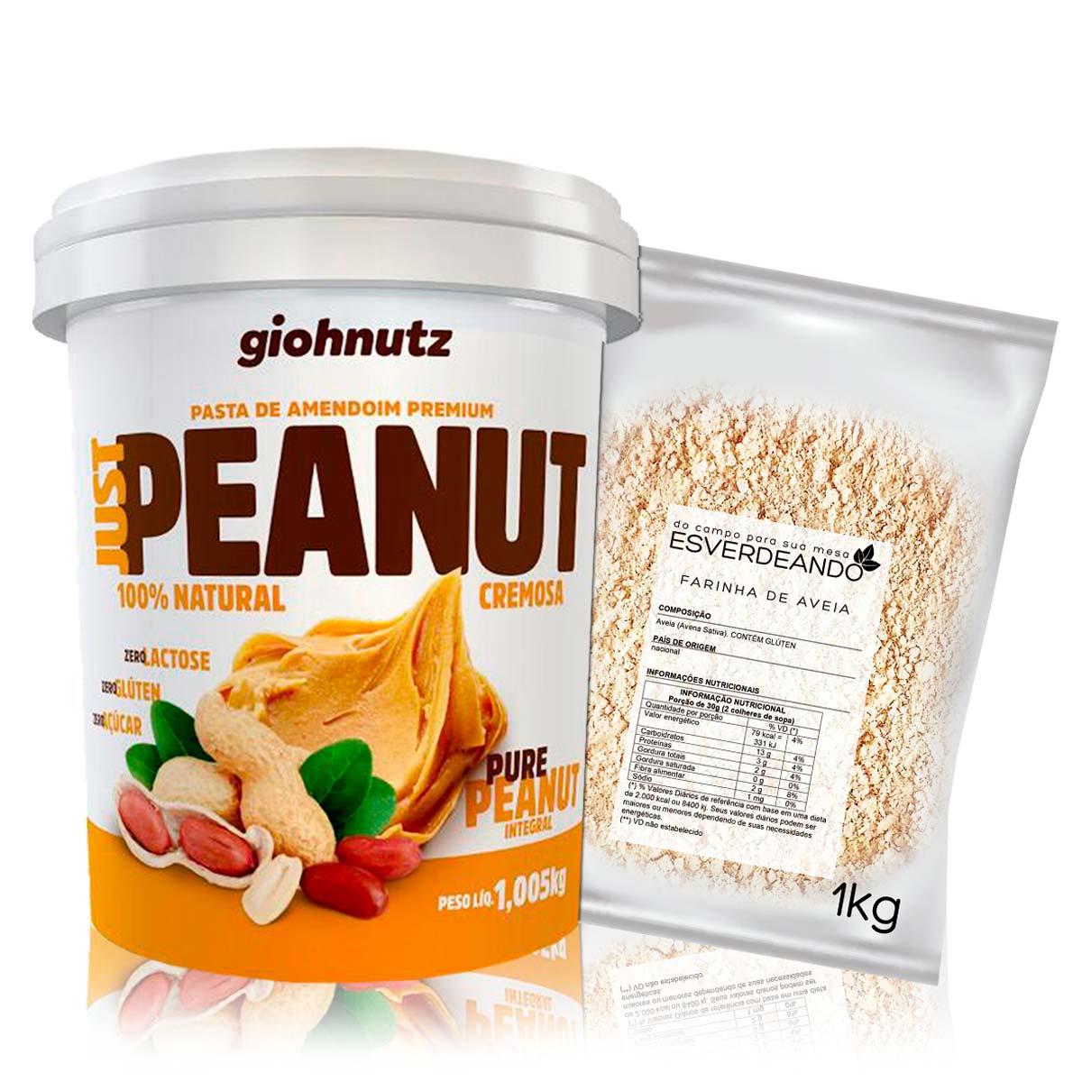 Kit Pasta de Amendoim Cremosa 1kg + Farinha de Aveia 1kg - Giohnutz/Esverdeando