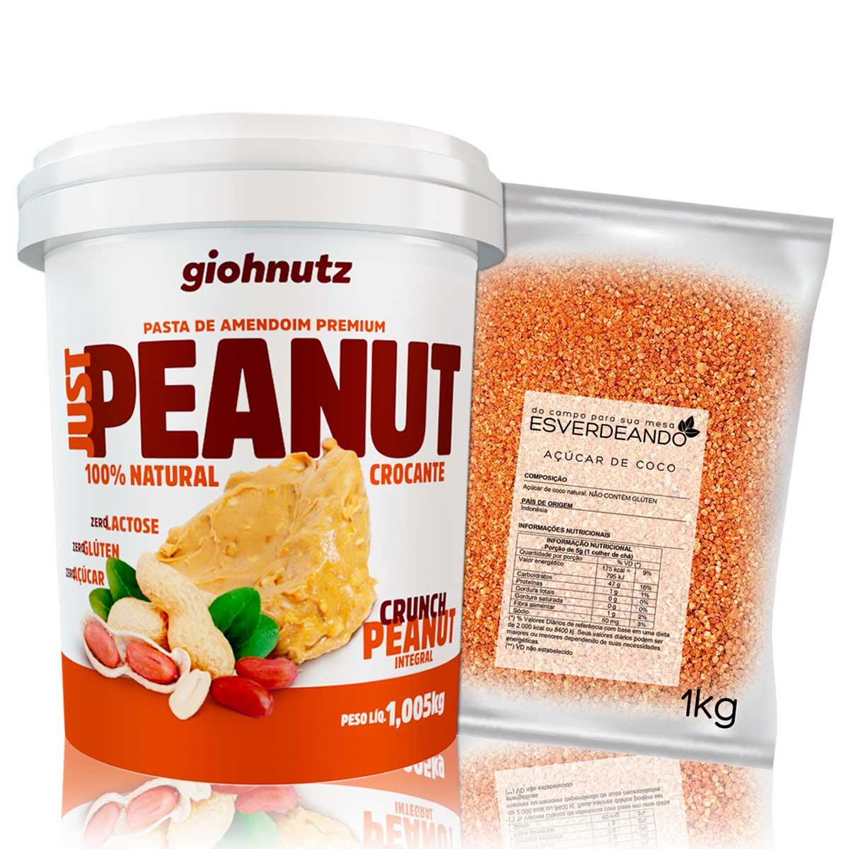 Kit Pasta de Amendoim Crocante 1kg + Açúcar de Coco 1kg - Giohnutz/Esverdeando