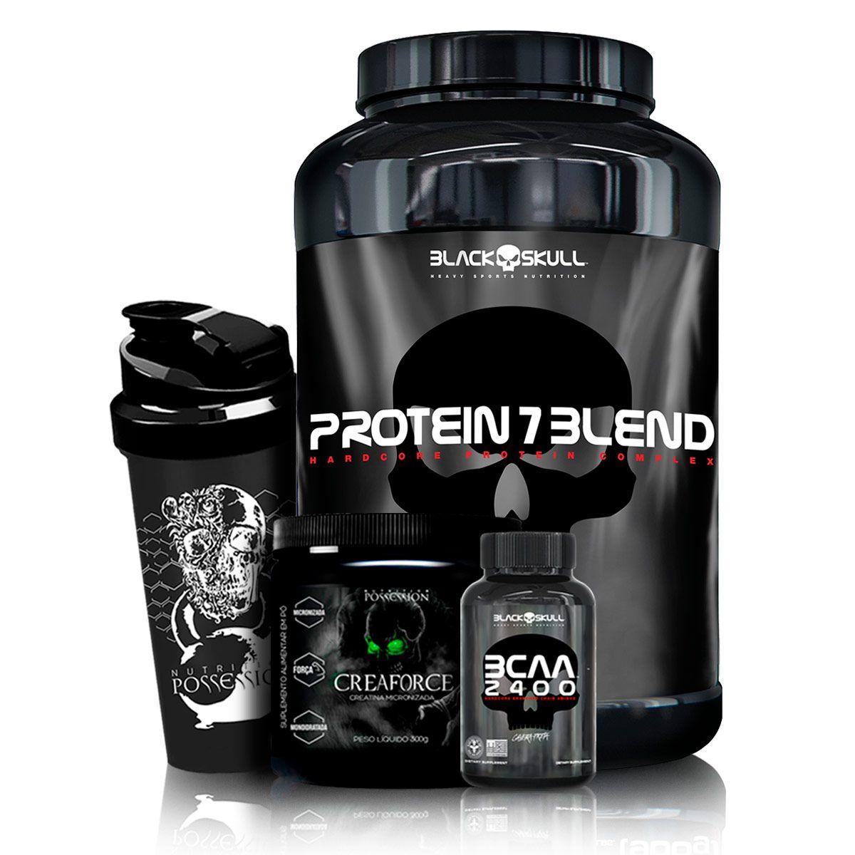 Kit Whey Protein 7 Blend - Black Skull