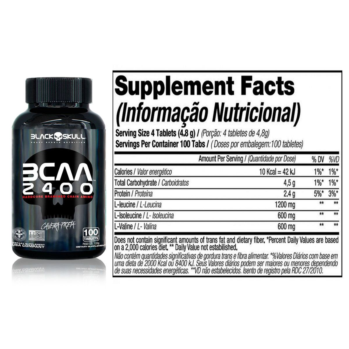 Kit Protein 7 Blend 837g + Depth-7 100g + BCAA 2400 100 Tabletes + Coqueteleira - Black Skull