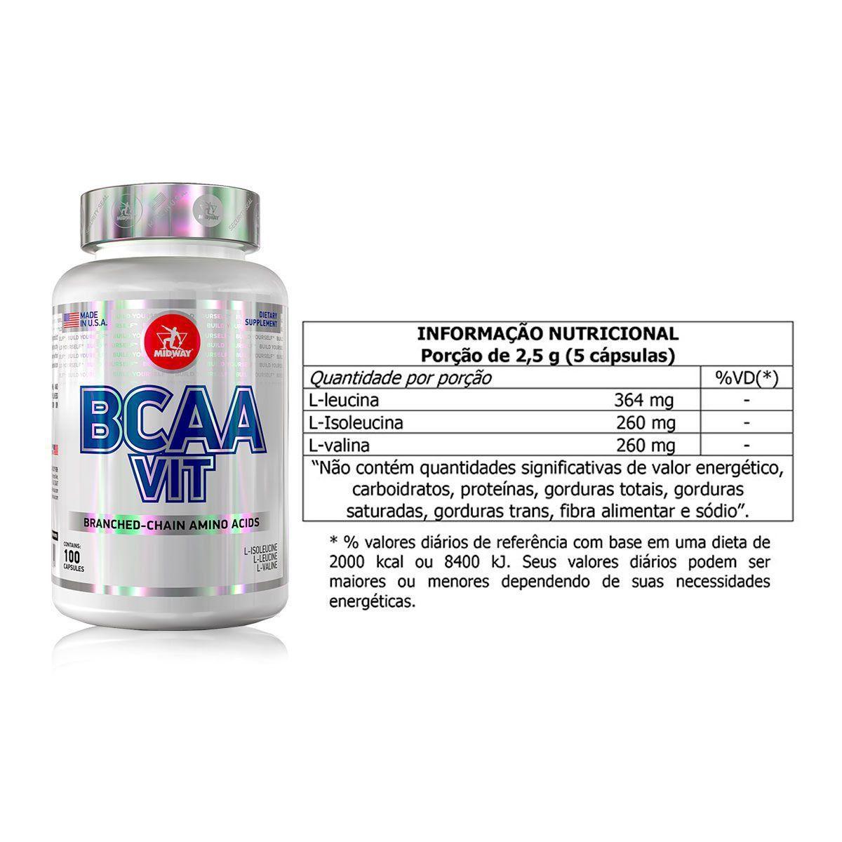 Kit Suplementos Creatina + Glutamina + BCAA + Brindes - Midway