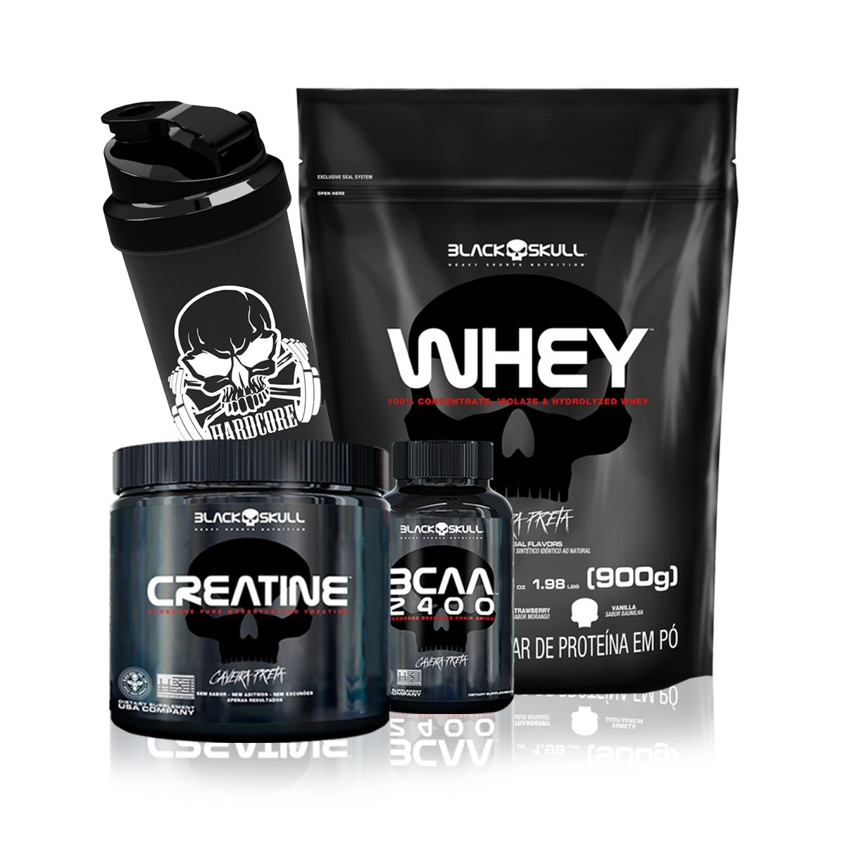 Kit Suplementos Whey + Crea + Bcaa + Coqueteleira - Black Skull
