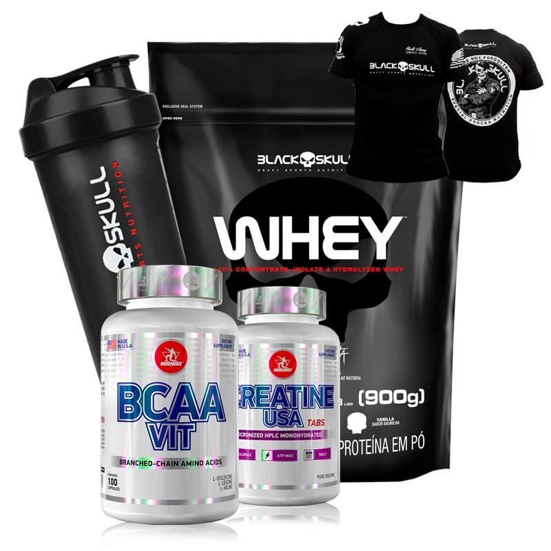 Kit Suplementos Whey Protein Black Skull + Midway + Camiseta