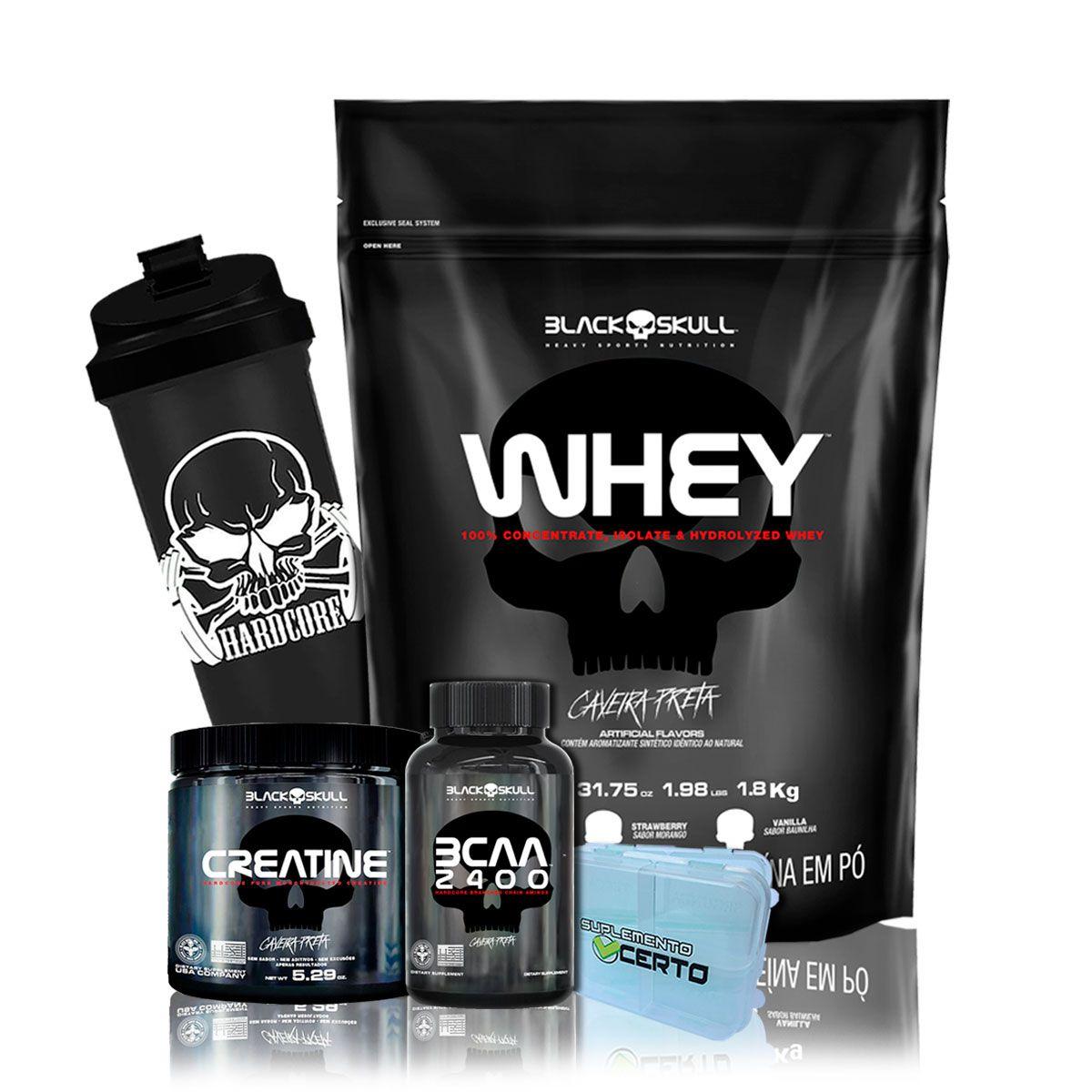 Kit Suplementação Whey 1,8kg - Black Skull