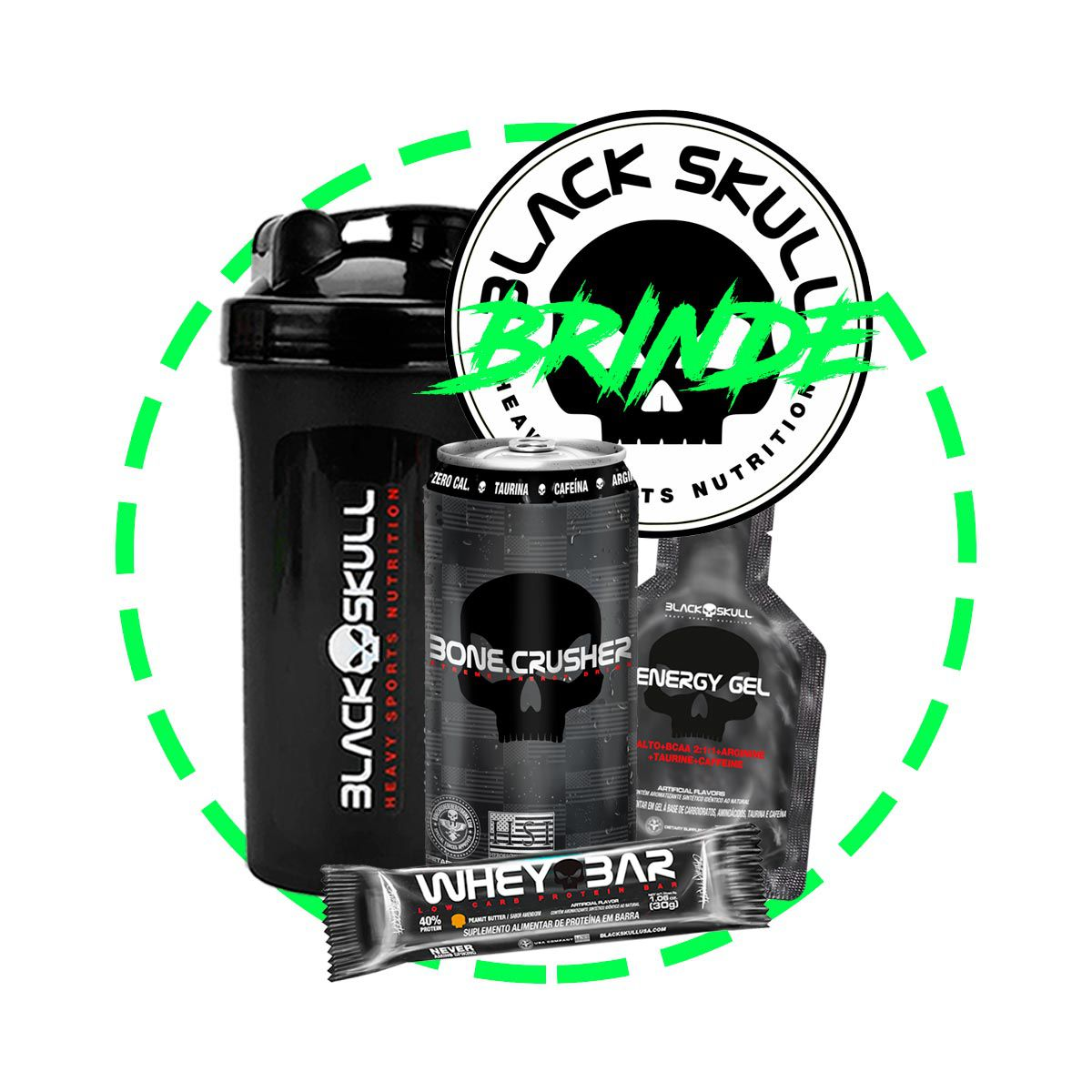 Kit Ganha de Massa Muscular Whey 3HD Black Skull + Brindes