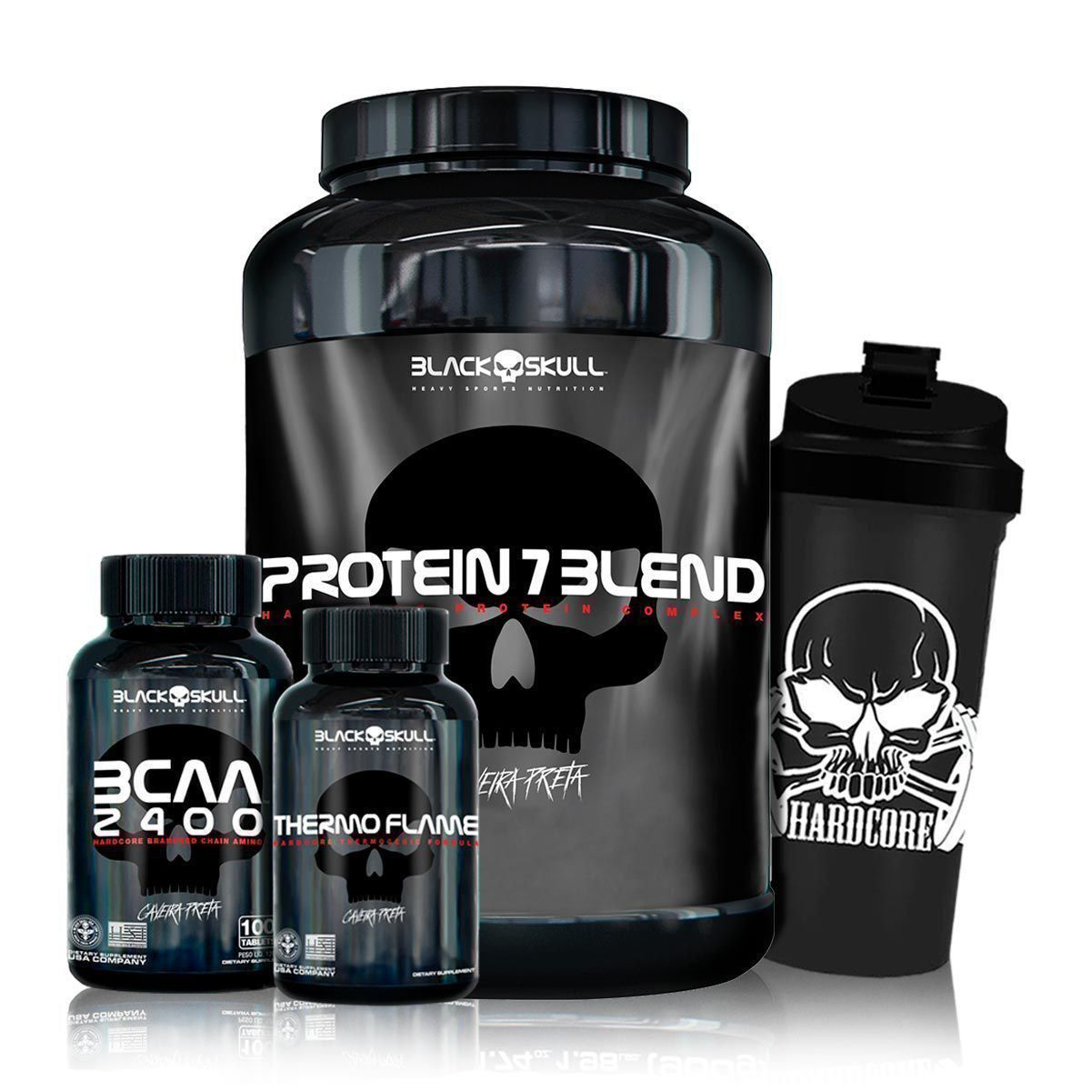 Kit Whey 7 Blend + Bcaa 2400 + Thermo Flame + Coq - Black Skull
