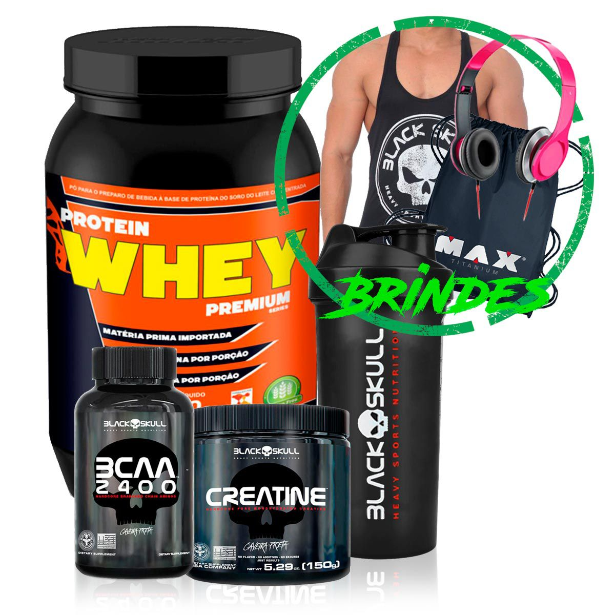 Kit Whey 900g + BCAA + Creatina - Black Skull