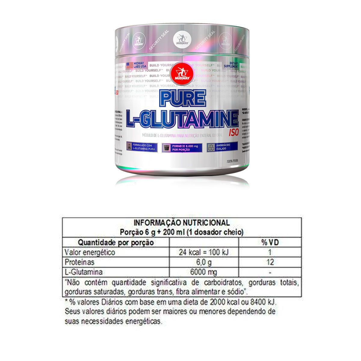 Kit Whey Protein 1kg + L-Glutamina Powder + bcaa Vit + Coq - Midway