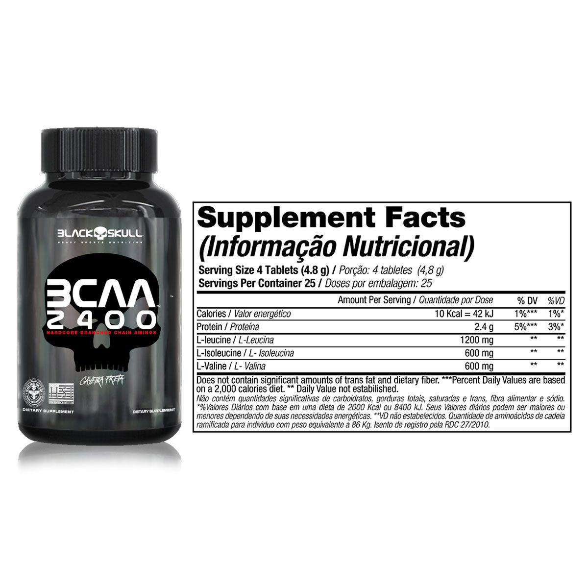 Kit Whey Protein 7 + BCAA 2400 30 Tabletes + Creatine 150g + Coqueteleira - Black Skull