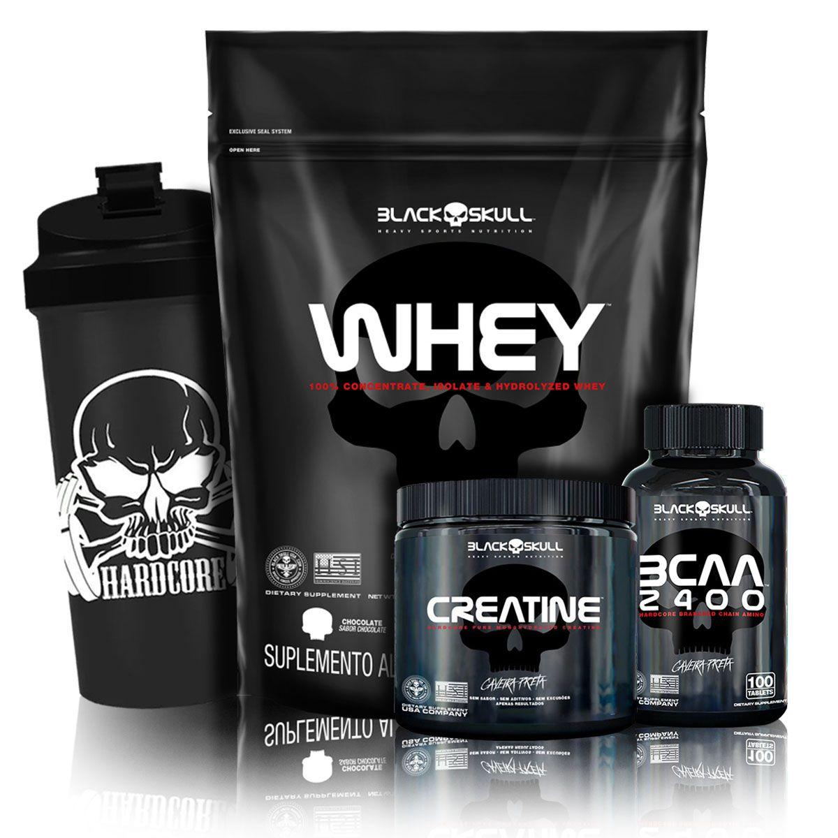 Kit Whey Protein 900g Refil + Crea 150g + BCAA 2400 100 Caps + Coqueteleira - Black Skull