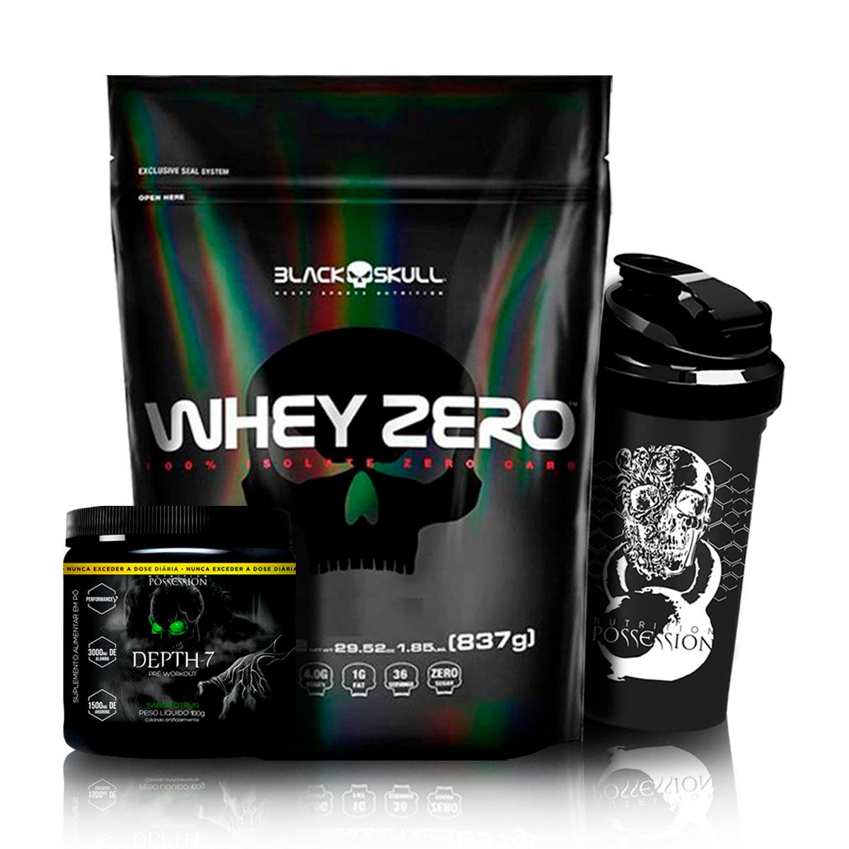 Kit Whey zero 837g Refil + Pré Treino Depth-7 100g - Black Skull