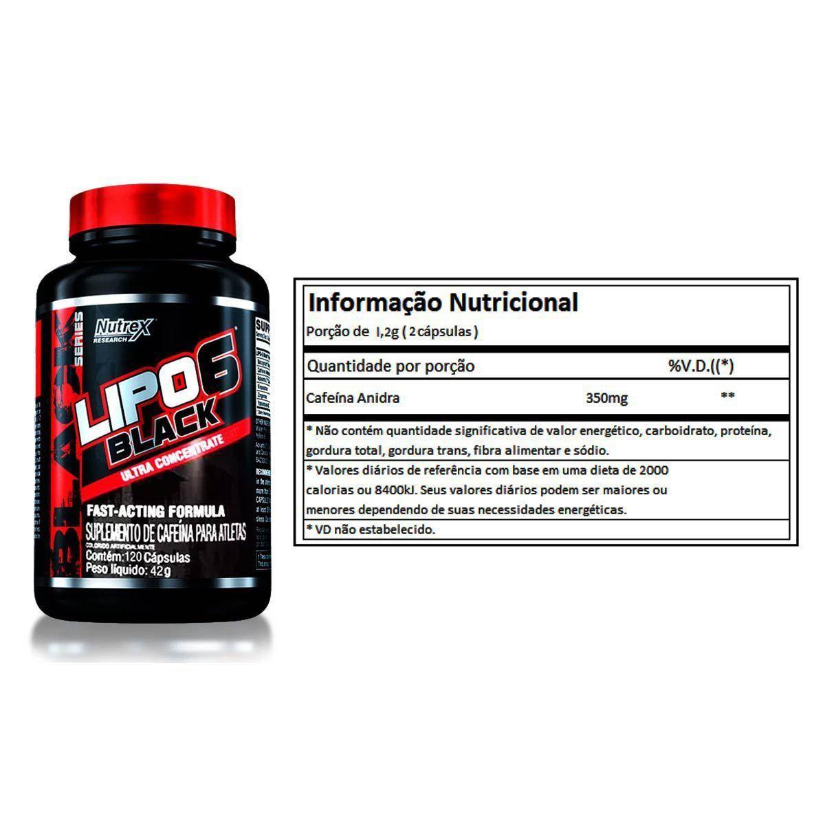 Lipo 6 Black Ultra Concentrado 120 Cápsulas Nutrex + Brindes