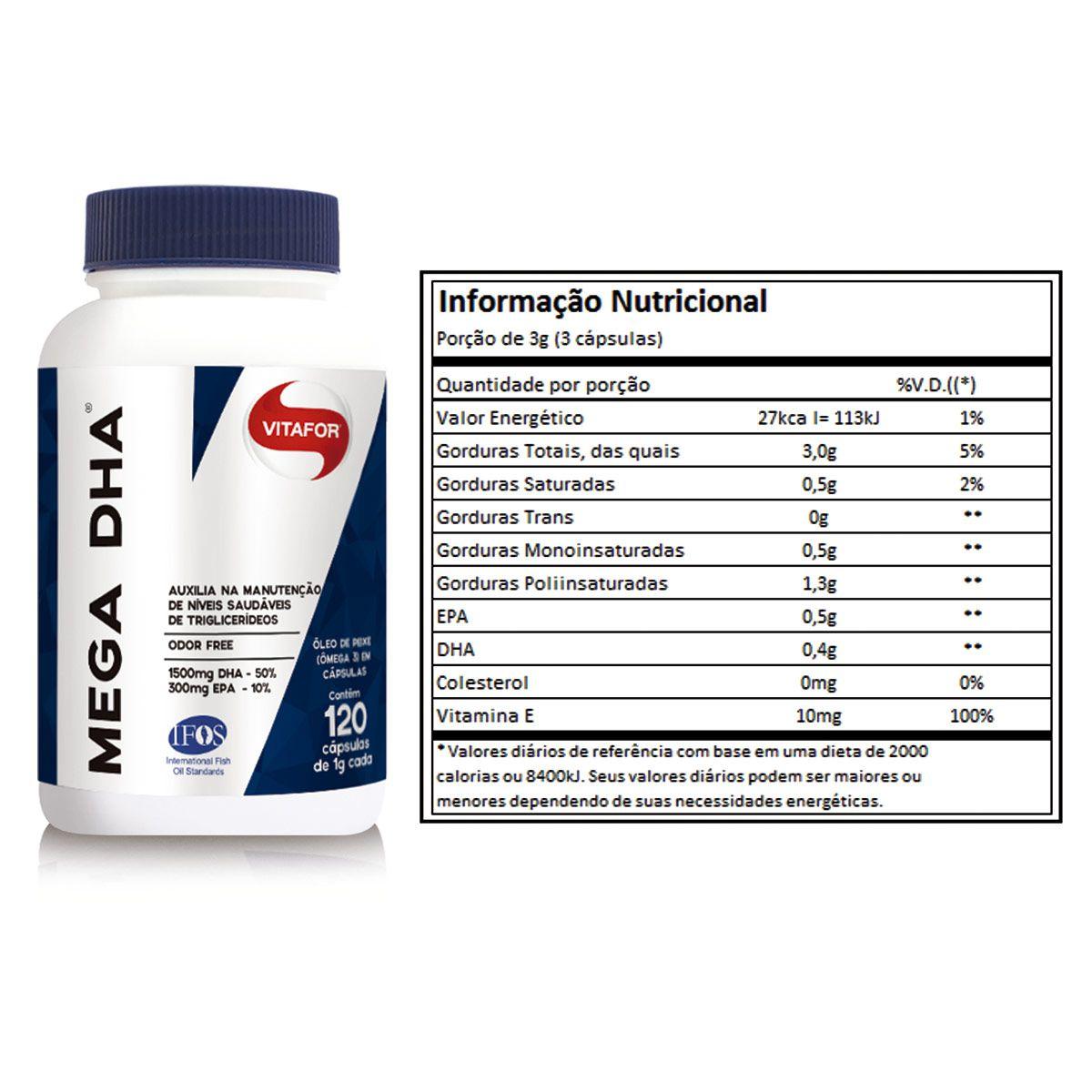 Mega DHA (Ômega 3 de Alta Concentração) 120 Cápsulas - Vitafor