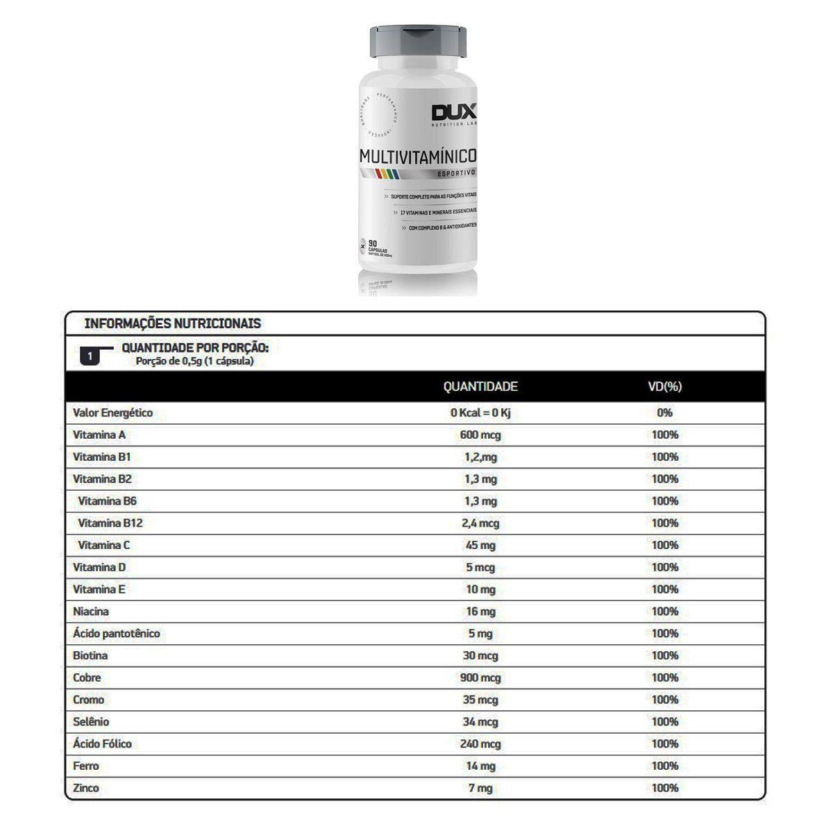Multivitaminico 90 Cápsulas - Dux Nutrition