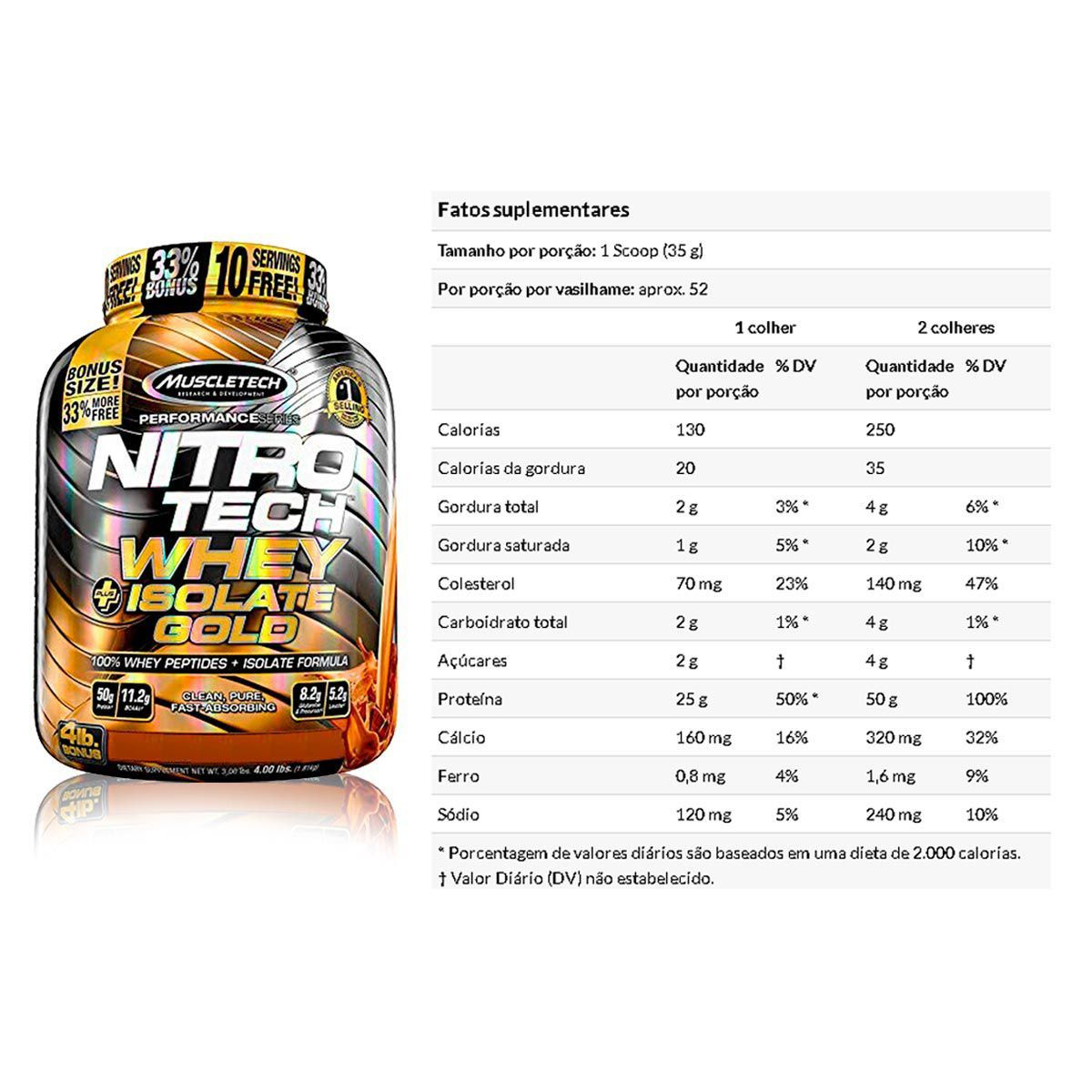 Nitrotech Whey Isolate Gold 2,01lbs (913g) - Muscletech