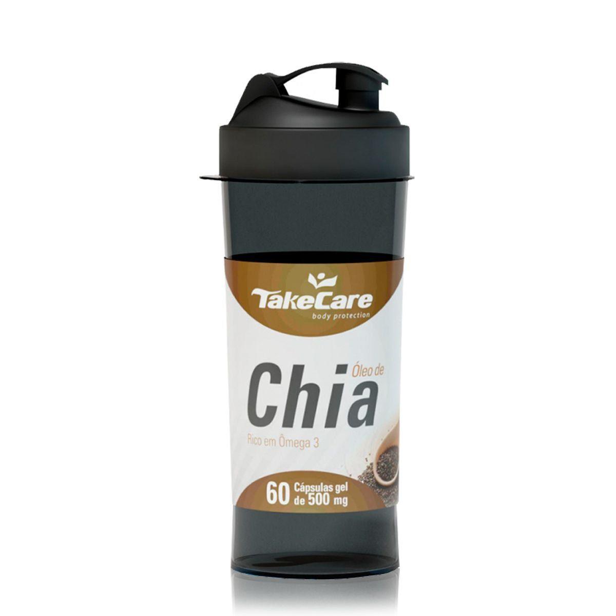 Óleo de Chia 500mg 60 Caps + Coqueteleira - Take Care