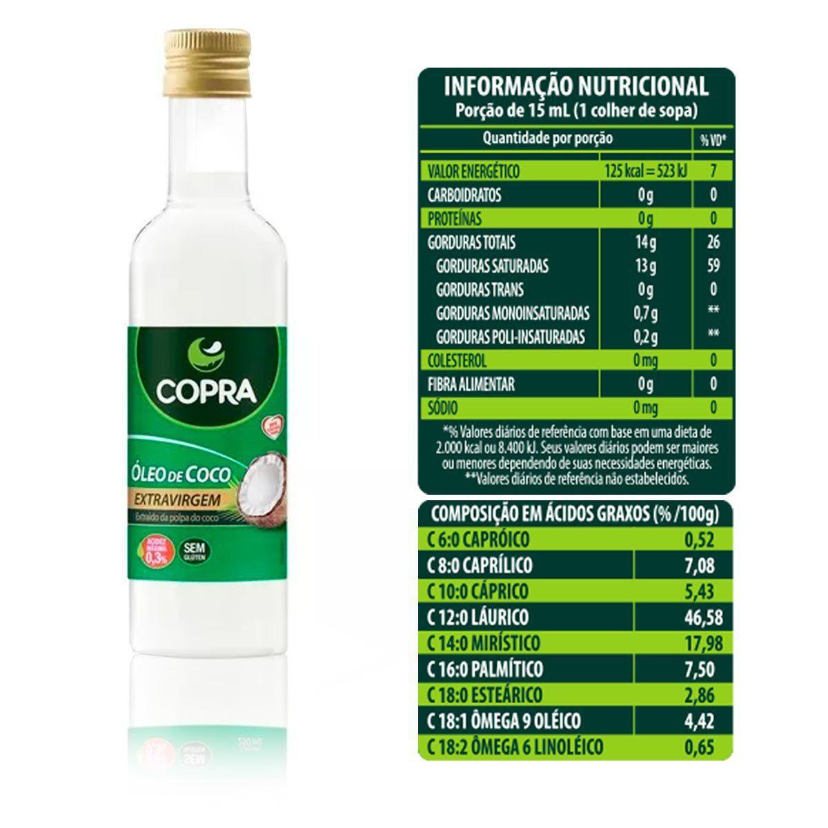 Óleo de Coco Extra Virgem 500ml Garrafa - Copra
