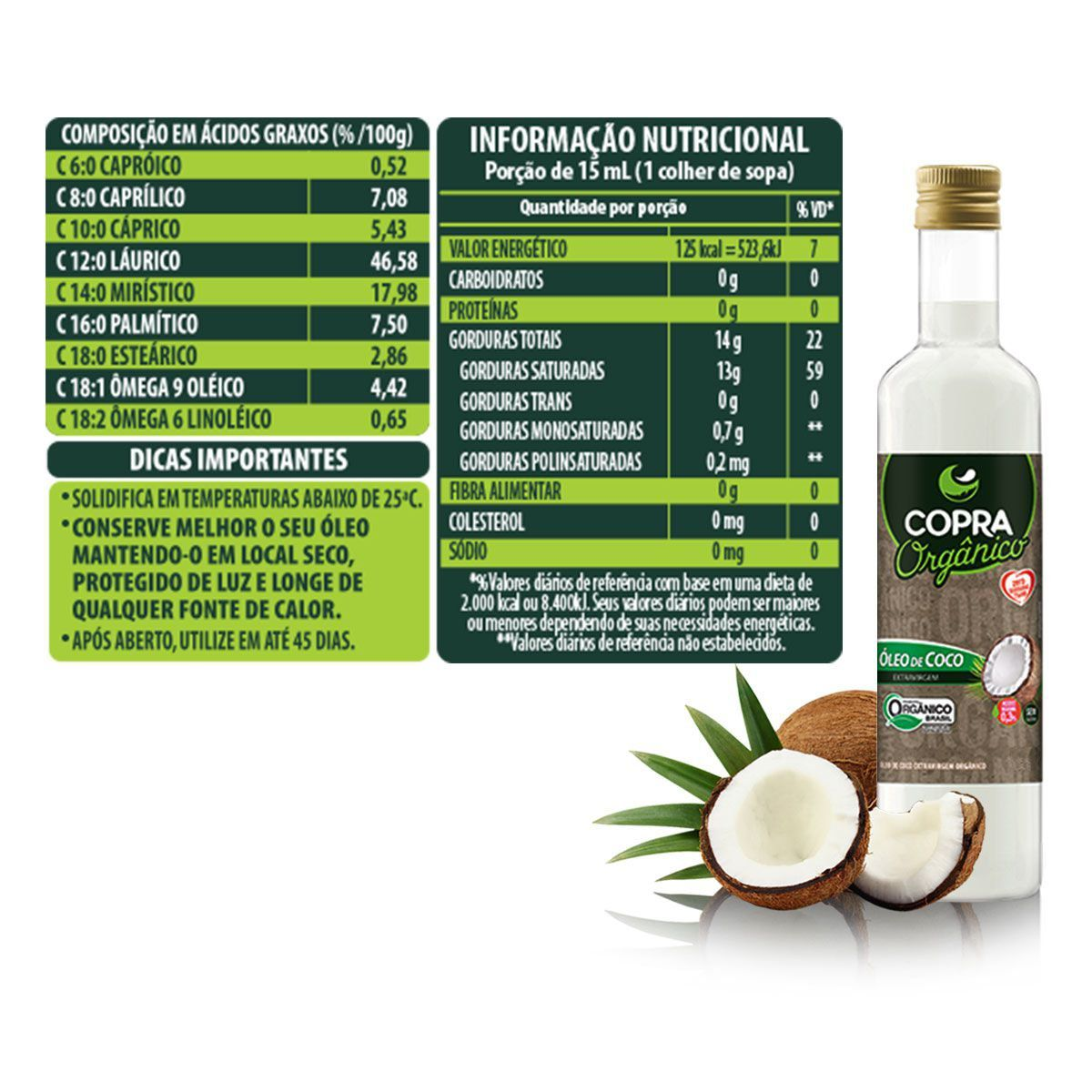 Óleo de Coco Orgânico 500ml Garrafa - Copra