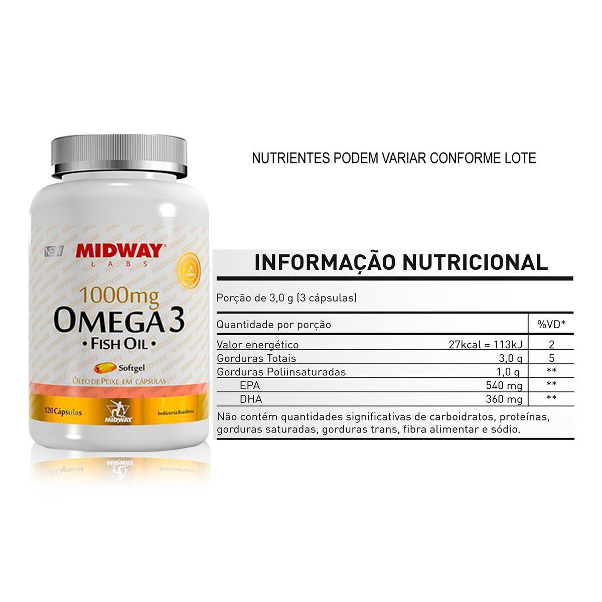 Omega 3 1000mg 120 Caps - Midway