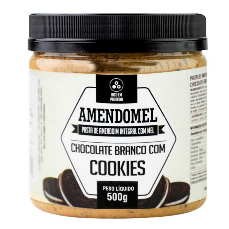 Pasta de Amendoim Amendomel Chocolate Branco com Cookies 500g - Thiani Alimentos