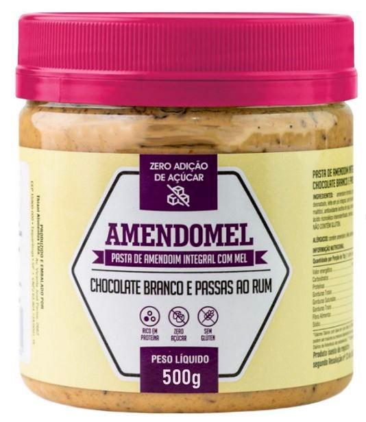 Pasta de Amendoim Amendomel  Chocolate Branco com Passas ao Rum 500g  - Thiani Alimentos