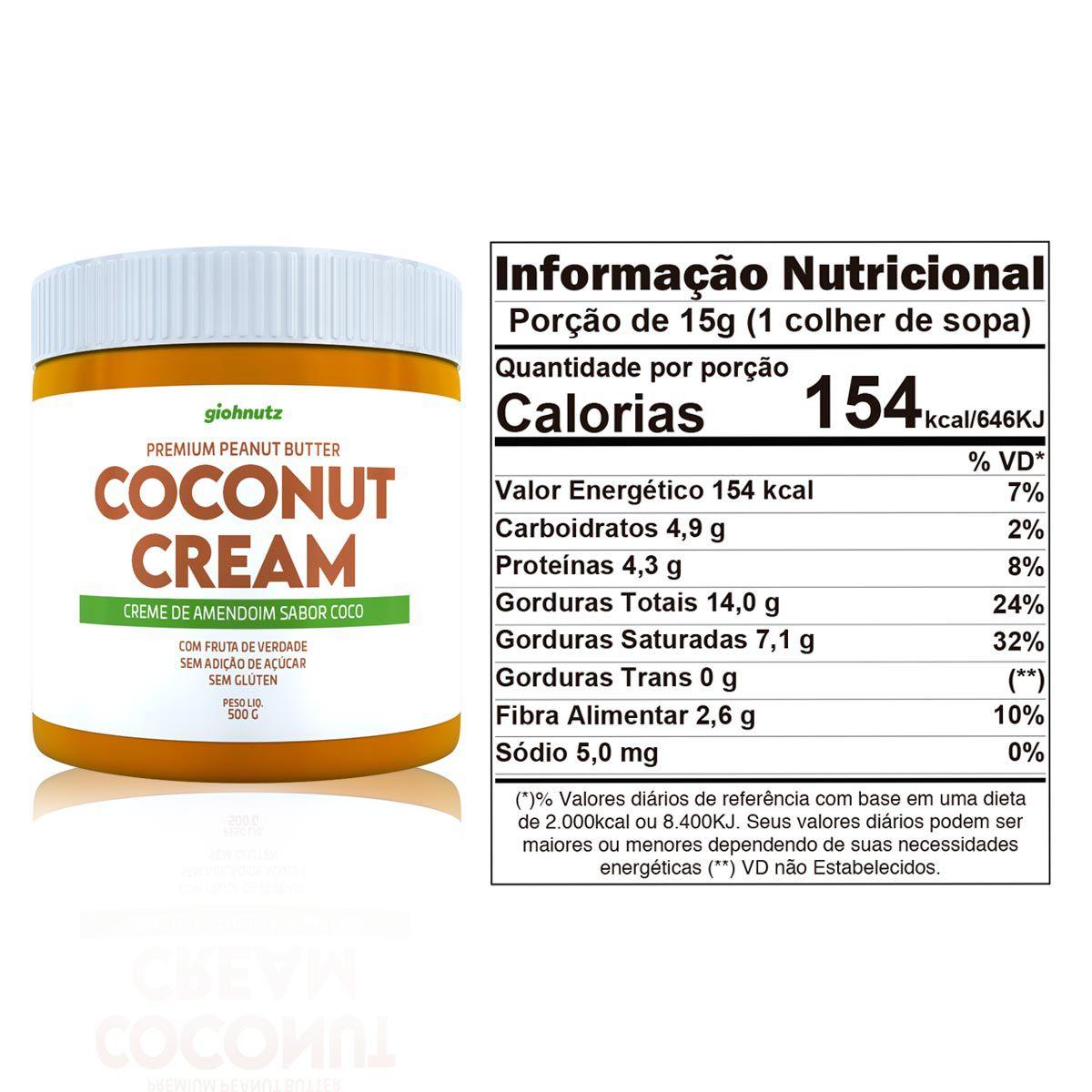 Pasta de Amendoim Coconut Cream 500g - Giohnutz