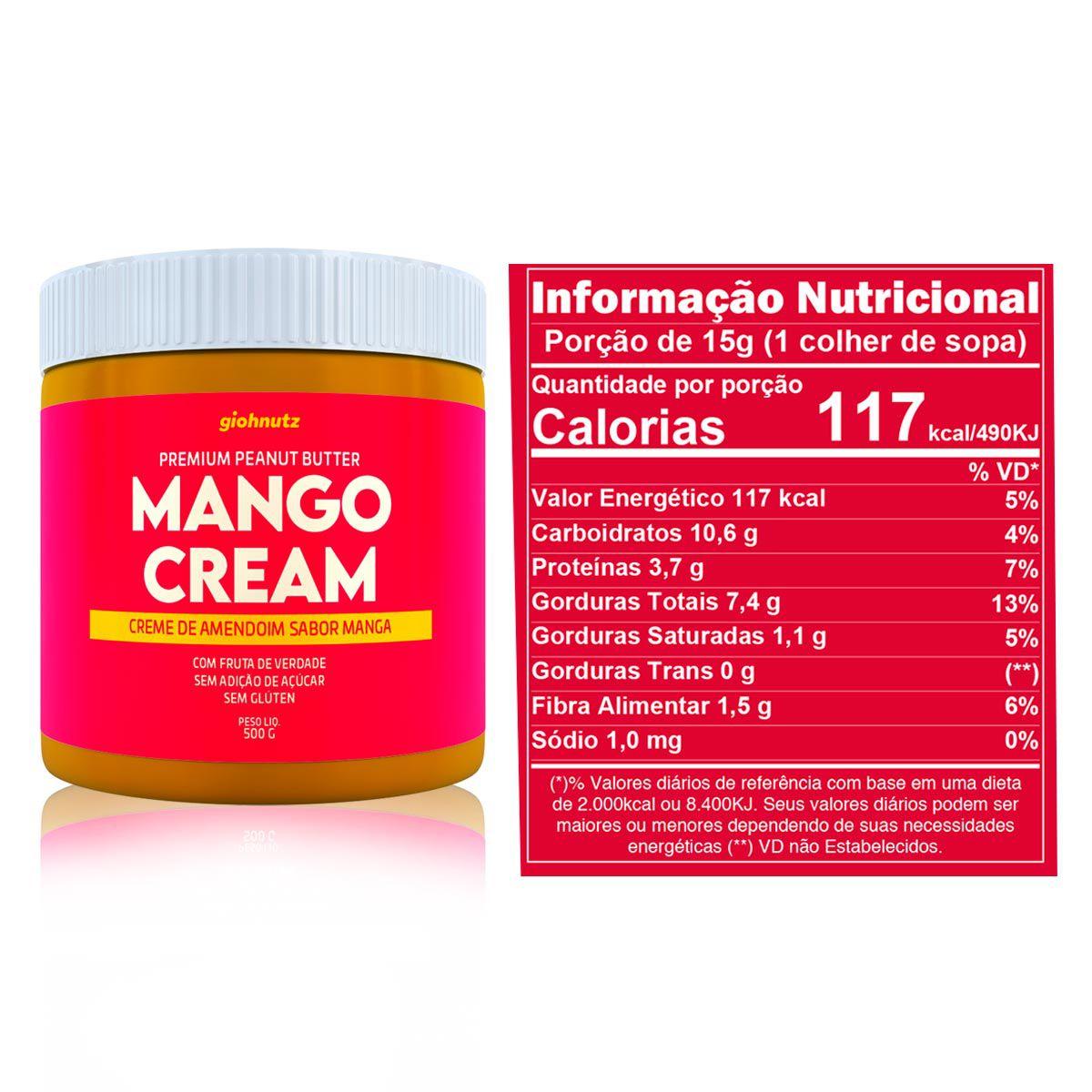 Pasta de Amendoim Mango Cream 500g - Giohnutz Validade Janeiro de 2021