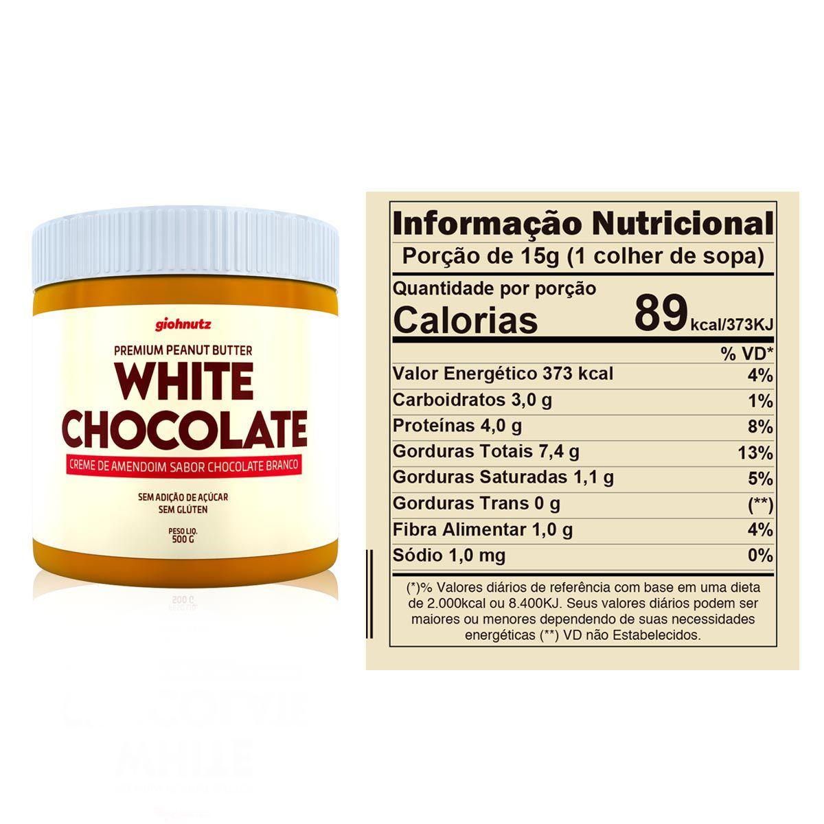 Pasta de Amendoim White Chocolate 500g - Giohnutz
