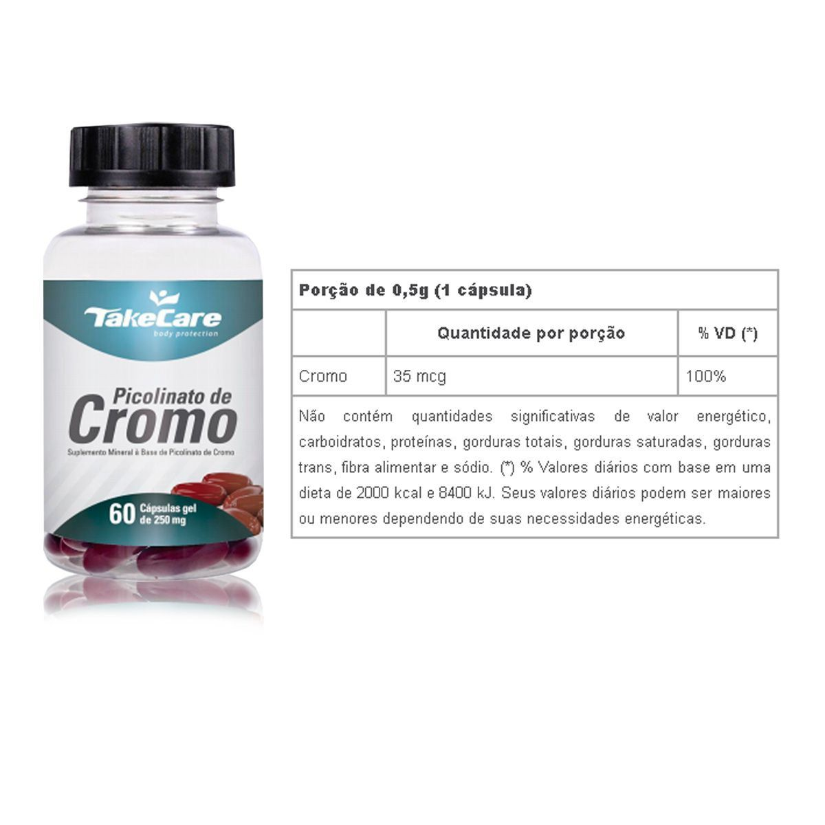 Picolinato de Cromo 250mg 60 Caps - Take Care