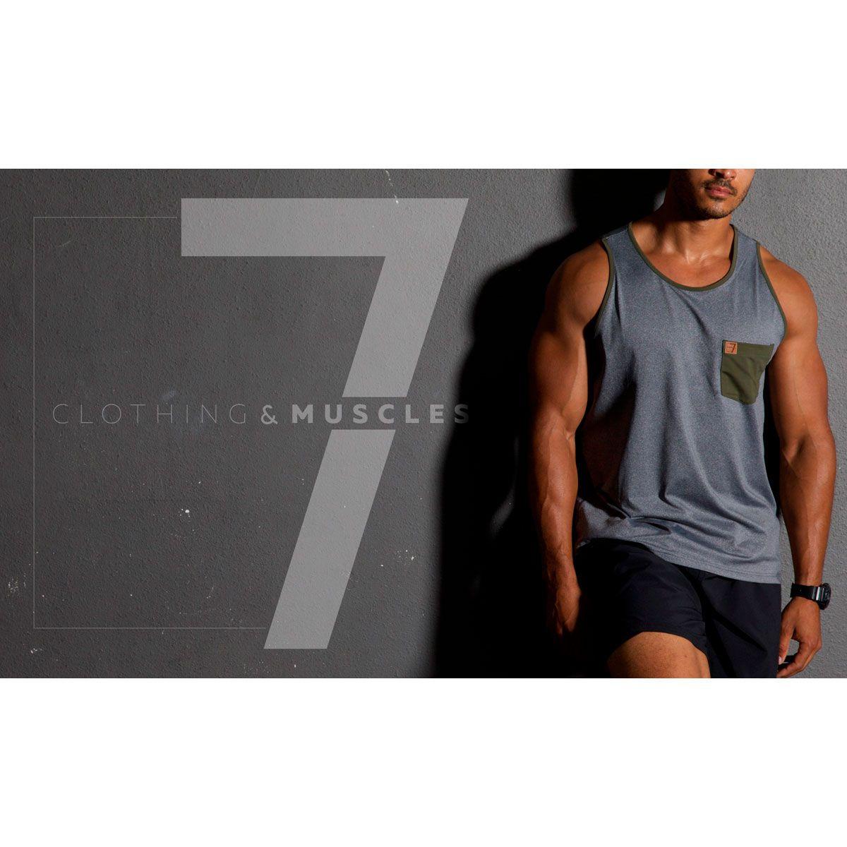 Regata Masculina Esportiva Cinza Mescla - SEV7N Clothing Muscles