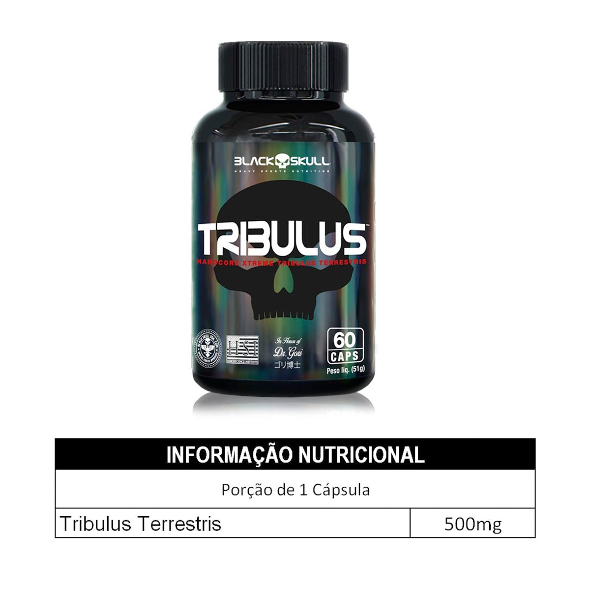 Tribulus Terrestris 500mg 60 Cápsulas Black Skull