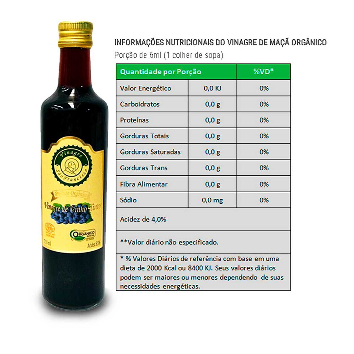 Vinagre Vinho Tinto Orgânico 500ml - São Francisco