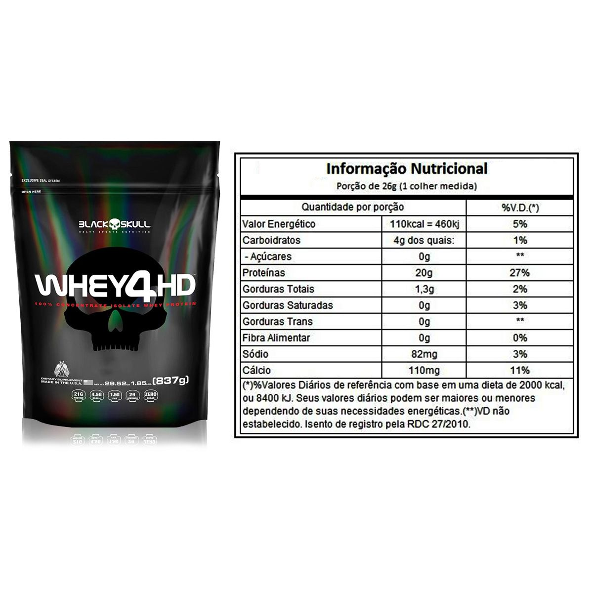 Whey 4HD Refil 837g - Black Skull