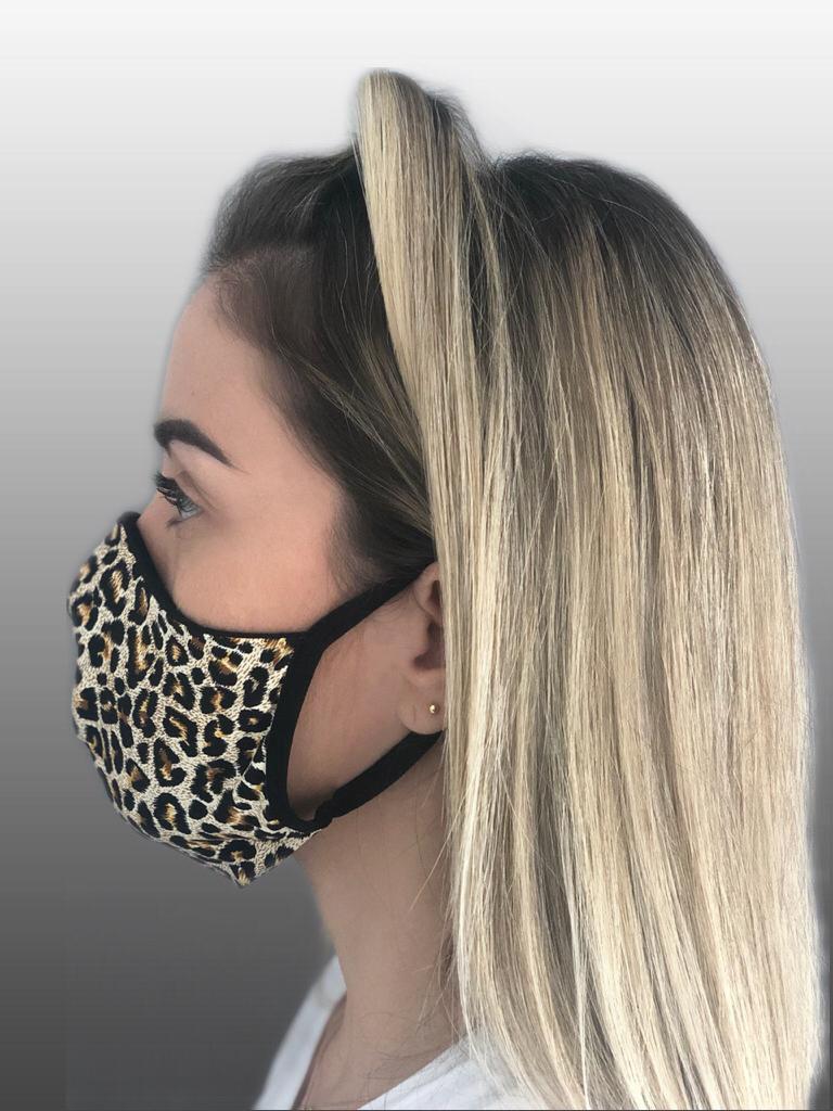 Máscara estampada Onça de microfibra e forro 100% Algodão Reutilizável kit c/ 5